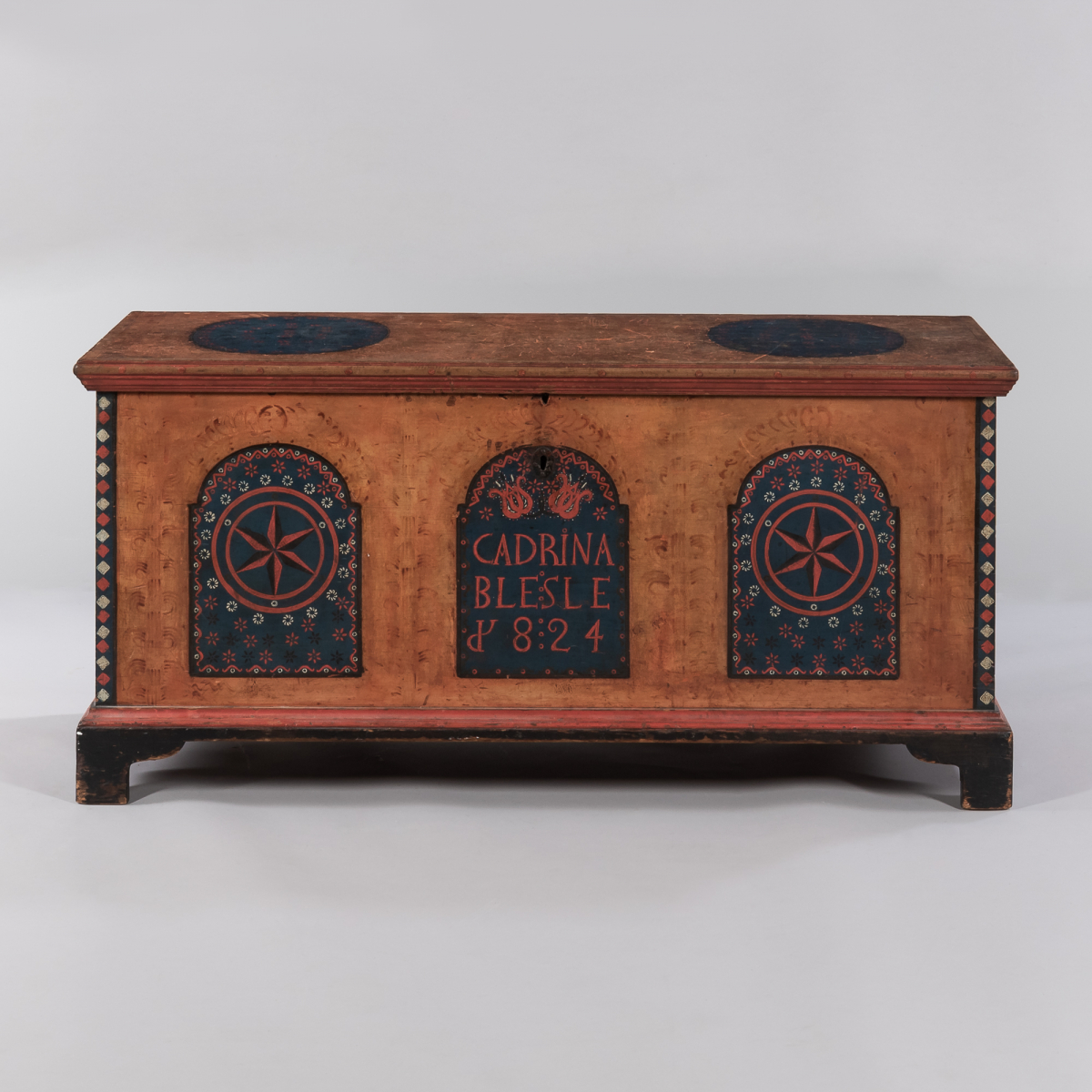 "Paint-decorated Dower Chest ""Cadrina Blesle/1824,"" Dauphin County, Pennsylvania, 1824"