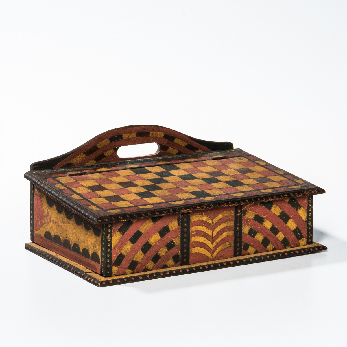 Paint-decorated Slant-lid Box Attributed to the Checkerboard Artist, probably Somerset County, Pennsylvania, second quarter 19th century