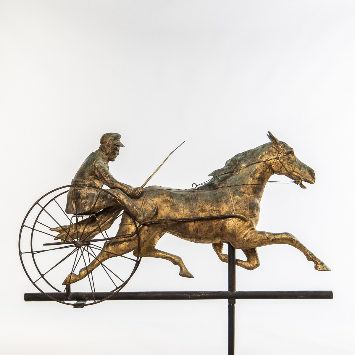 Molded and Gilded Sheet Copper Horse and Sulky Weathervane, J.L. Mott Iron Works, New York, c. 1890