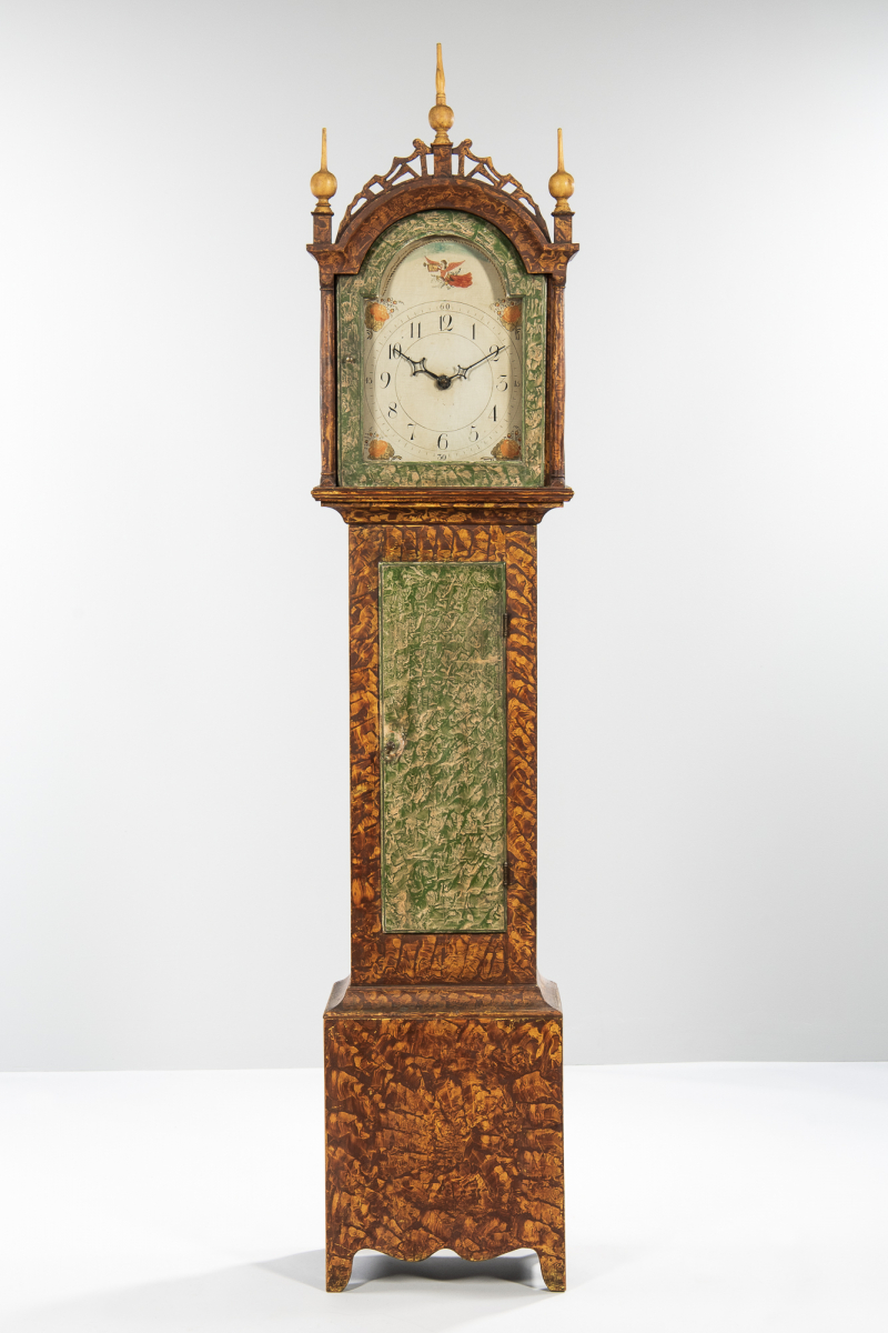 Paint-decorated Pine Wooden Works Tall Case Clock, probably Riley Whiting, Winchester, Connecticut, early 19th century