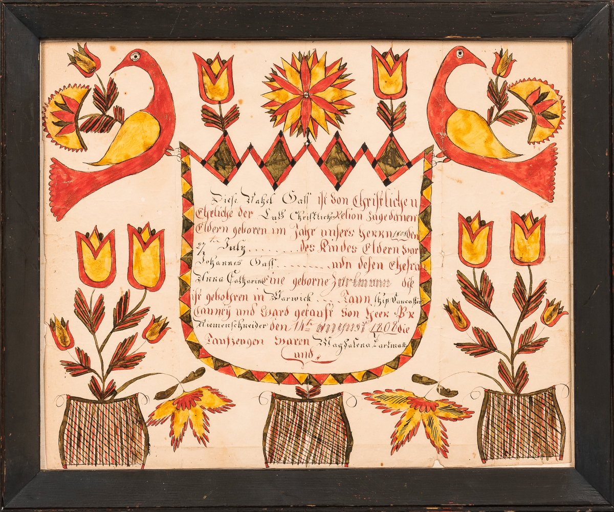 Watercolor Birth Fraktur for Rachel Gaff, Abraham Huth, Lancaster County, Pennsylvania, July 27th, 1808