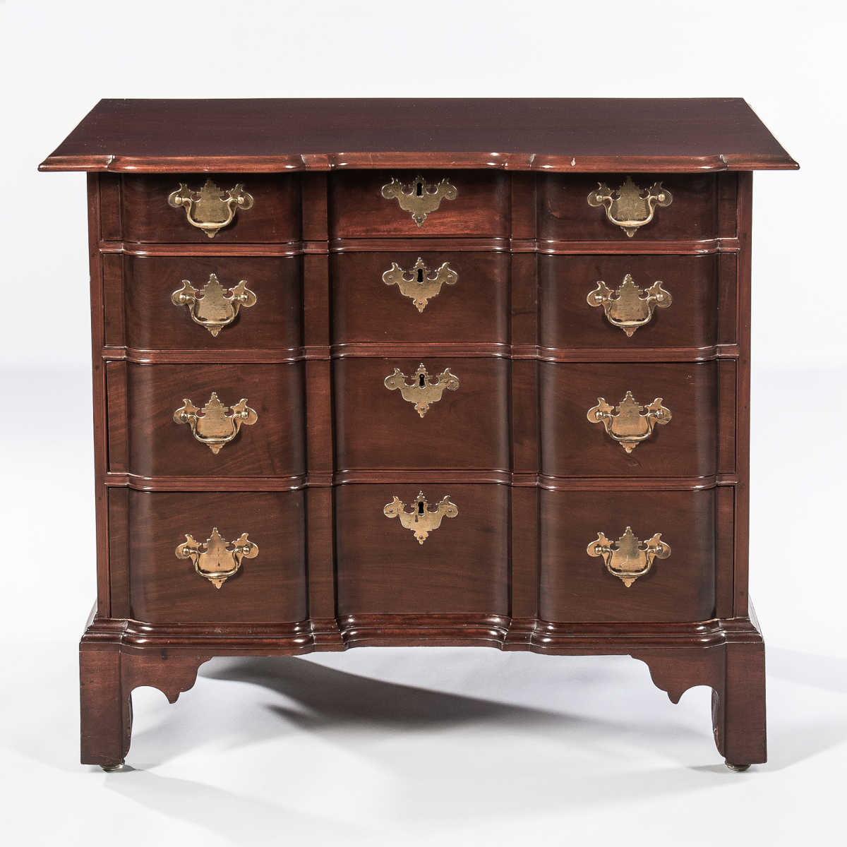 Chippendale Carved Mahogany Block-front Chest of Drawers, Massachusetts, c. 1760-80