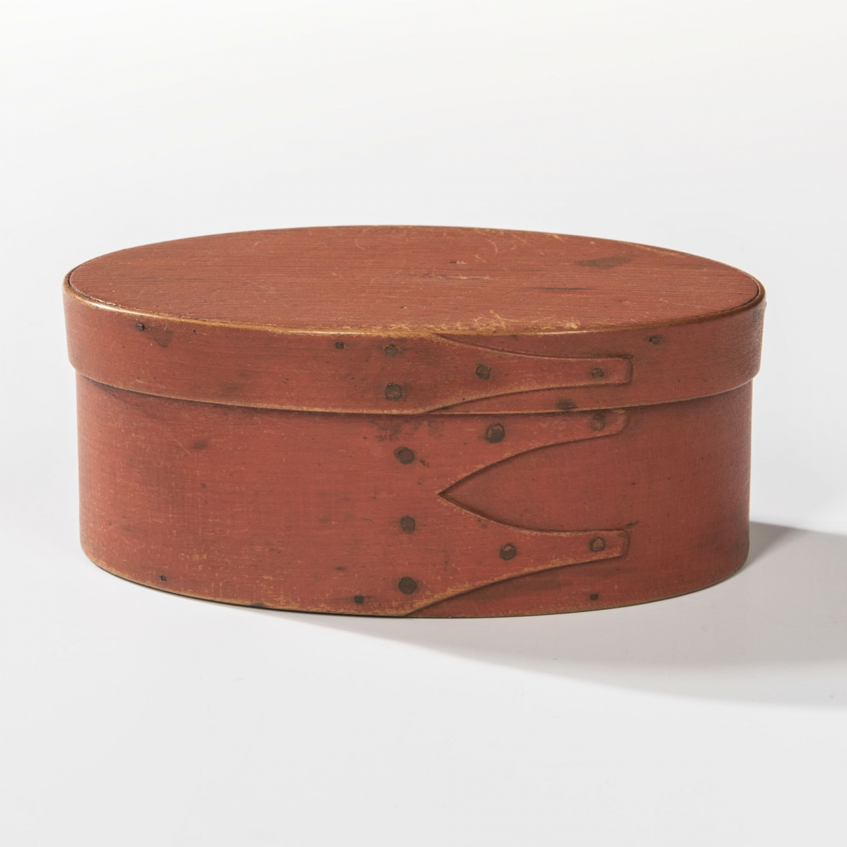 Shaker Bittersweet-painted Three-finger Oval Pantry Box, c. 1840