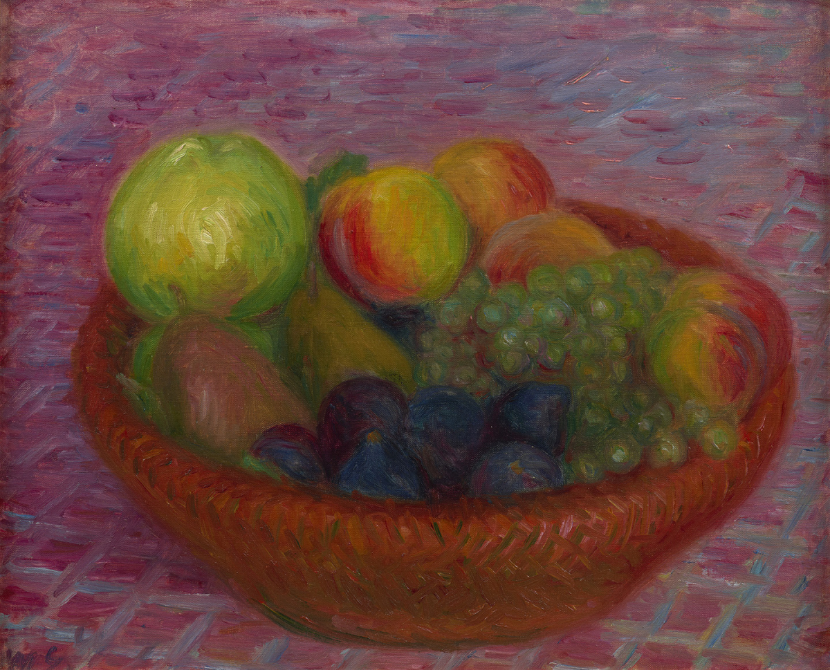 Fruit in a Red Basket, circa 1930